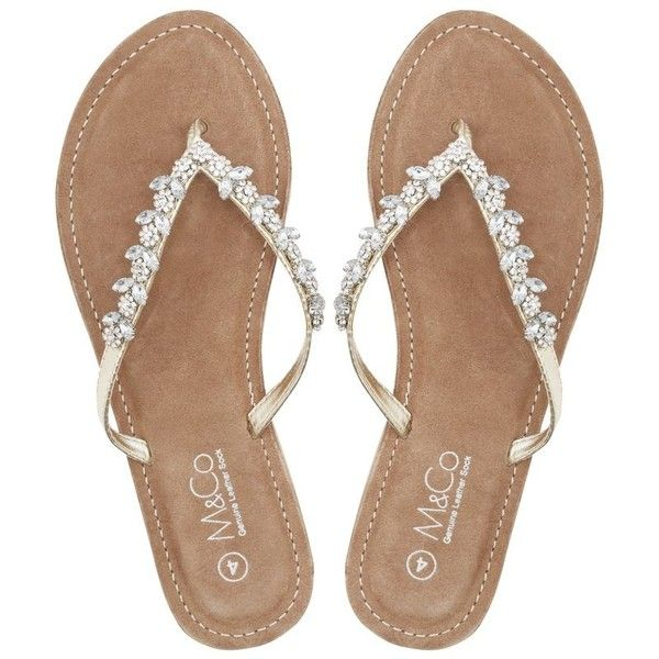M&Co Teardrop Diamante Flip Flops (1,295 DOP) ❤ liked on Polyvore featuring shoes, sandals, flip flops, gold, diamante shoes, gold flats sandals, gold flat shoes, flat pump shoes and glamorous shoes