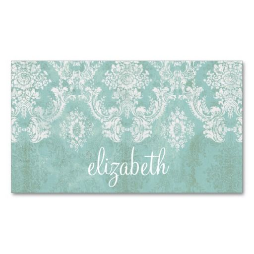 Ice Blue Vintage Damask Pattern with Grungy Finish Business Cards. Make your own business card with this great design. All you need is to add your info to this template. Click the image to try it out!