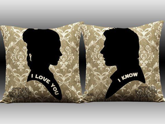 star wars, han solo, princess leia, star wars pillow, i love you i know, han and leia, star wars, i love you, i know, love pillow