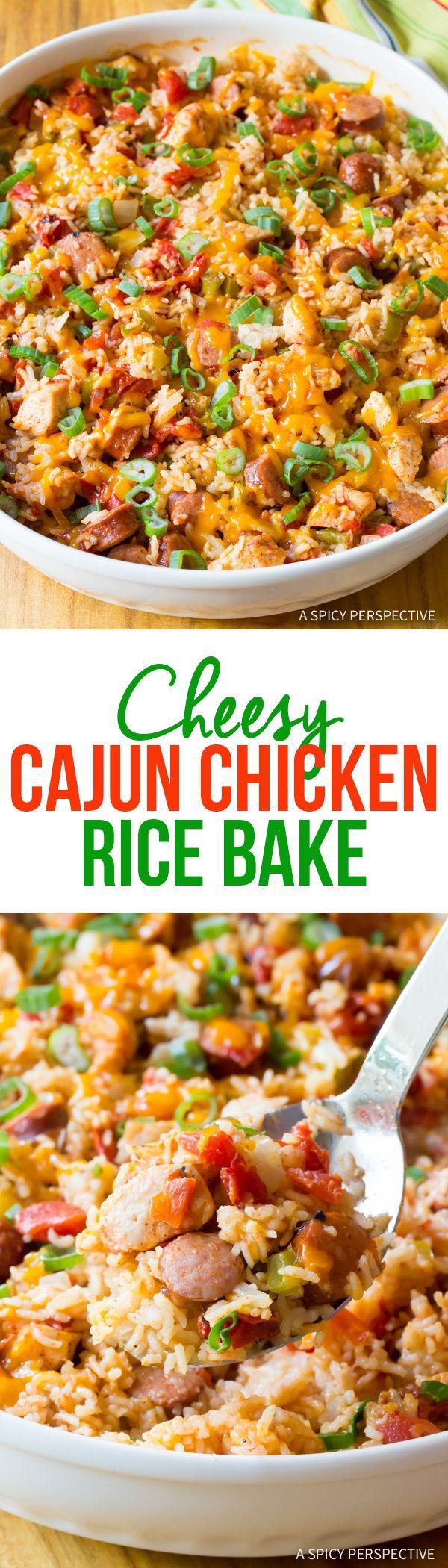 Zesty Cheesy Cajun Chicken and Rice Casserole Recipe #jambalaya
