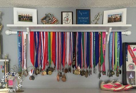 DIY running medal athletic award display shelf