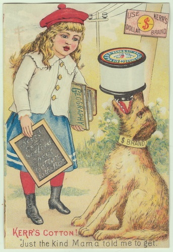 Kerr Sewing Thread Victorian Trade Card School Girl Child Dog