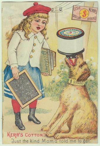 Kerr Sewing Thread Victorian Trade Card School Girl Child Dog