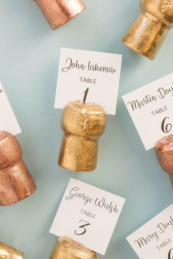 Diy Champagne Cork Place Card Holders Card Table Wedding Wedding Name Cards Wedding Table Name Cards