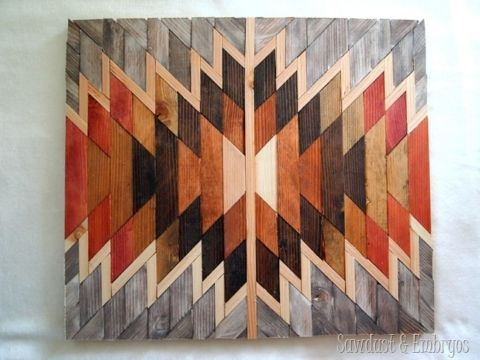 DIY Native American Artwork using scraps of wood and different stains {Sawdust and Embryos}