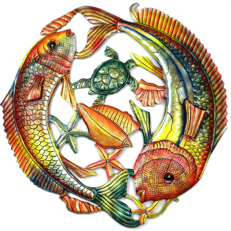 Painted Two Fish Jumping - Haitian Metal Wall Art