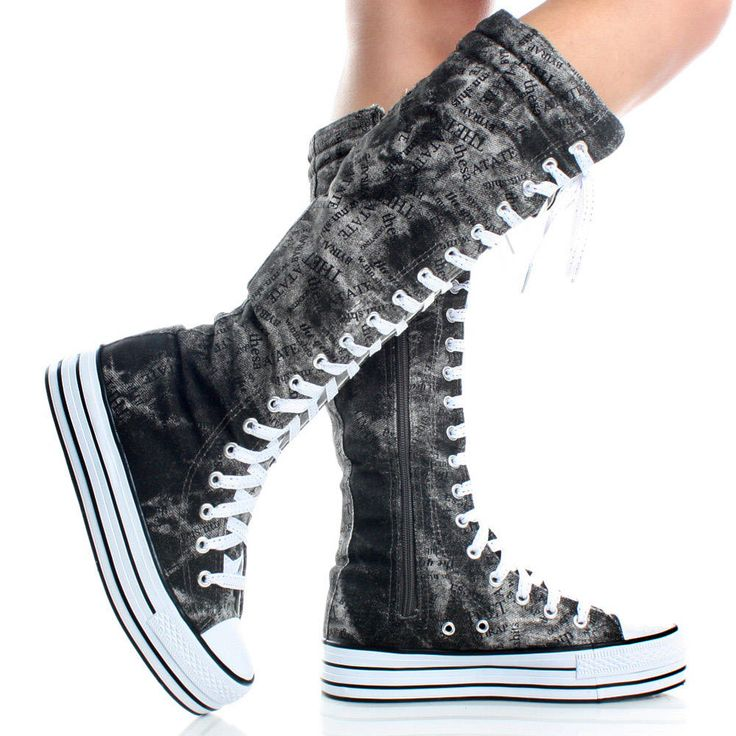 black gray canvas denim platform sneakers womens knee high