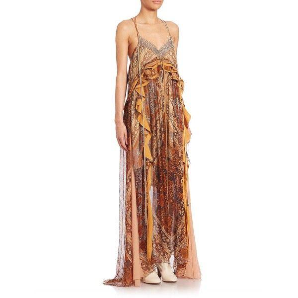 Chloé Printed Silk Foulard Dress (€1.175) ❤ liked on Polyvore featuring dresses, designer lifest - chloe rtw, multi orange, silk dress, white dress, silk spaghetti strap dress, ruffle dress and white halter top