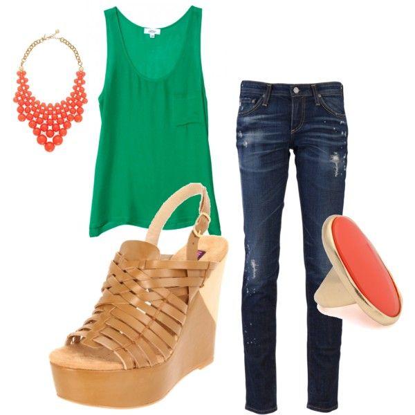 cute: Emeralds, July Favors, Color Combos, Summer Color, Color Splash, Color Combinations, Wedges Lov, Jeans Outfit, Spring Outfit