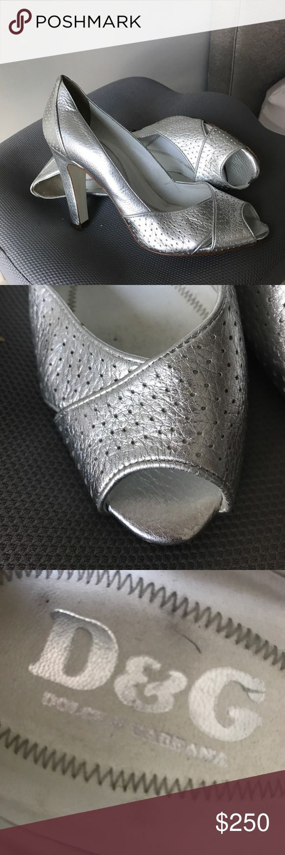 Dolce Gabbana (D&G) Silver High Heel Shoe Excellent condition Dolce & Gabbana high heel silver open toe shoes. Great for a wedding, prom, or spring/summer event. Dolce & Gabbana Shoes Heels
