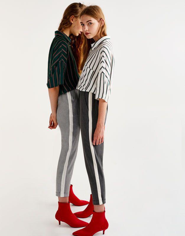 Pull&Bear - mujer - ropa - ropa - pantalones - pantalón jogger banda lateral - gris medio - 09681359-I2017