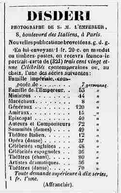 DISDÉRI, annonce insérée dans le « Courrier de Saumur » en 1863 - (à noter : le tarif d'affranchissement d'une lettre ordinaire est de 20 centimes).