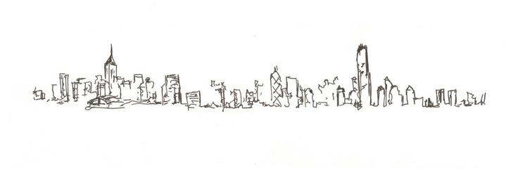 Blind contour drawing of the Hong Kong skyline.