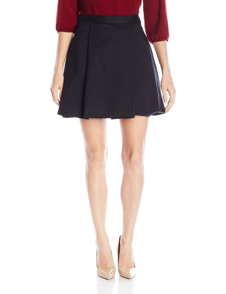 HALSTON HERITAGE Women's High Waisted Structured Skirt, Black, 2. Fashion core skirt of the season. Structured flared skirt in silk cotton faille.