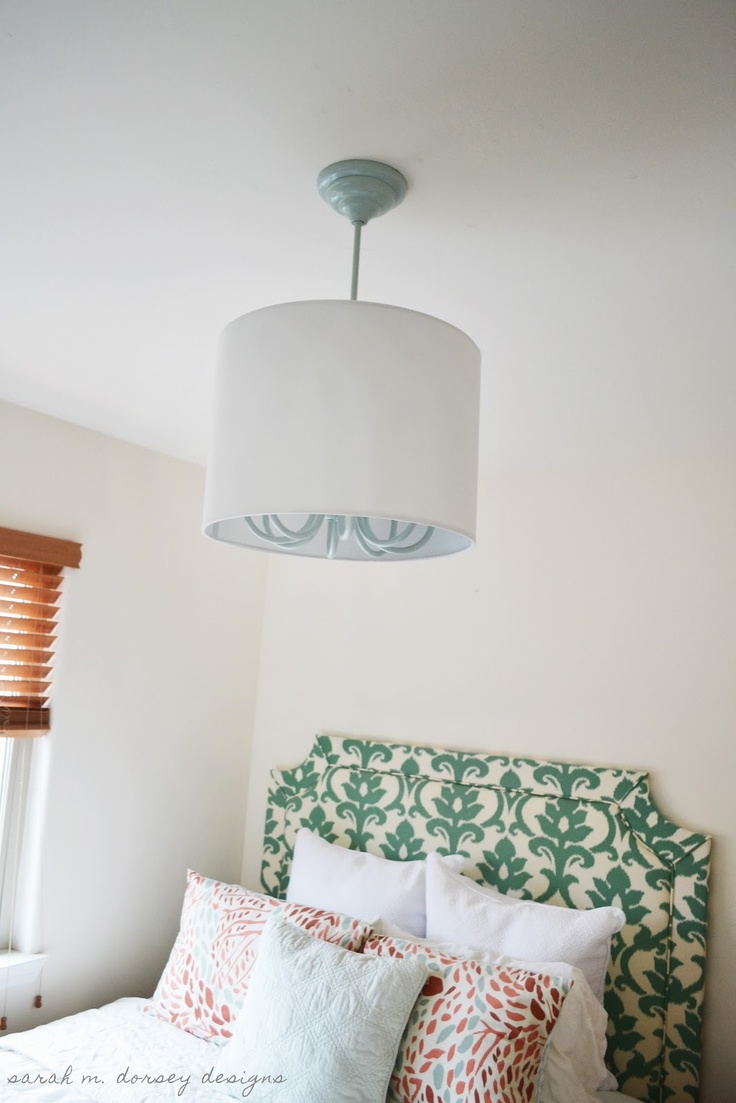 sarah m. dorsey designs: How to install a drum shade over a chandelier