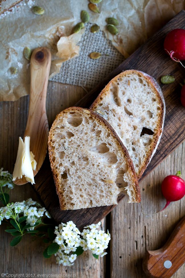 Chleb z Vermont na zakwasie z pestkami dyni, Vermont sourdough with pumpkin seeds  #chleb #bread #baking #bakery #sourdough
