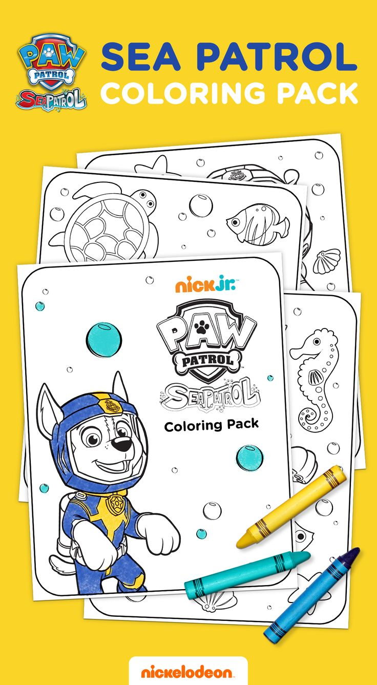 Print this free printable PAW Patrol coloring pack featuring the pups and Ryder in their underwater