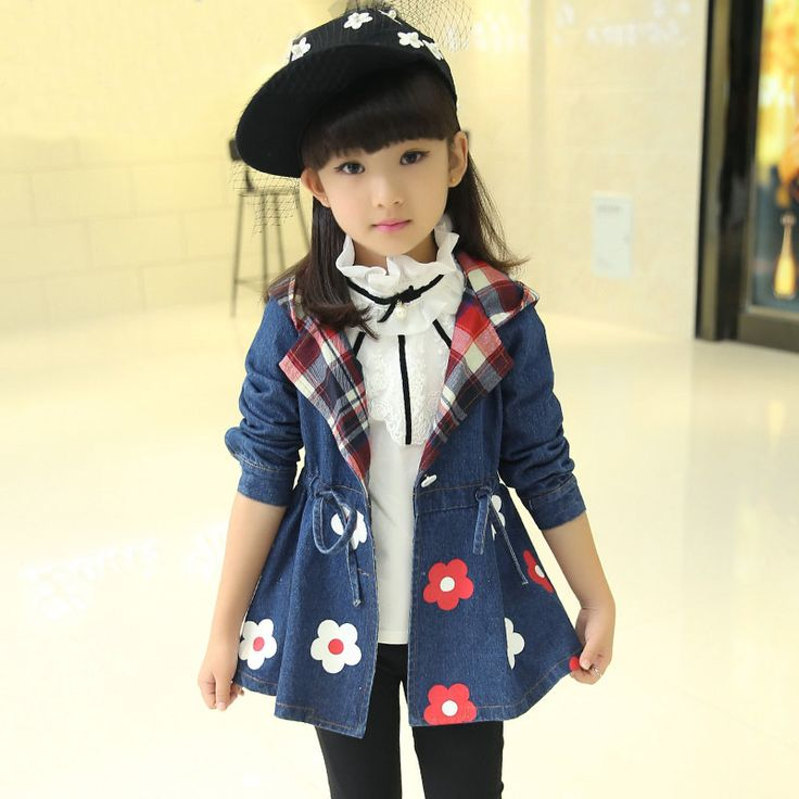 Barato 2016 primavera outono crianças casacos meninas denim outerwear com capuz de impressão de flores crianças casacos roupas, Compro Qualidade Sobretudos diretamente de fornecedores da China: 2016 Spring autumn kids trench coats girls clothing denim outerwear hooded printing flowers costume children jackets clo