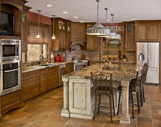 vintage, knotty alder, ive piece door fronts, stacked cabinet doors, Kitchen Island, Kitchen Cabinetry, Kitchen Cabinets, Cherry Cabinetry, Cherry Cabinets, Traditional, Knotty Cherry, Custom, Seating Area, Large Island, furniture feet, arched bottoms, cream, distressed,crown molding