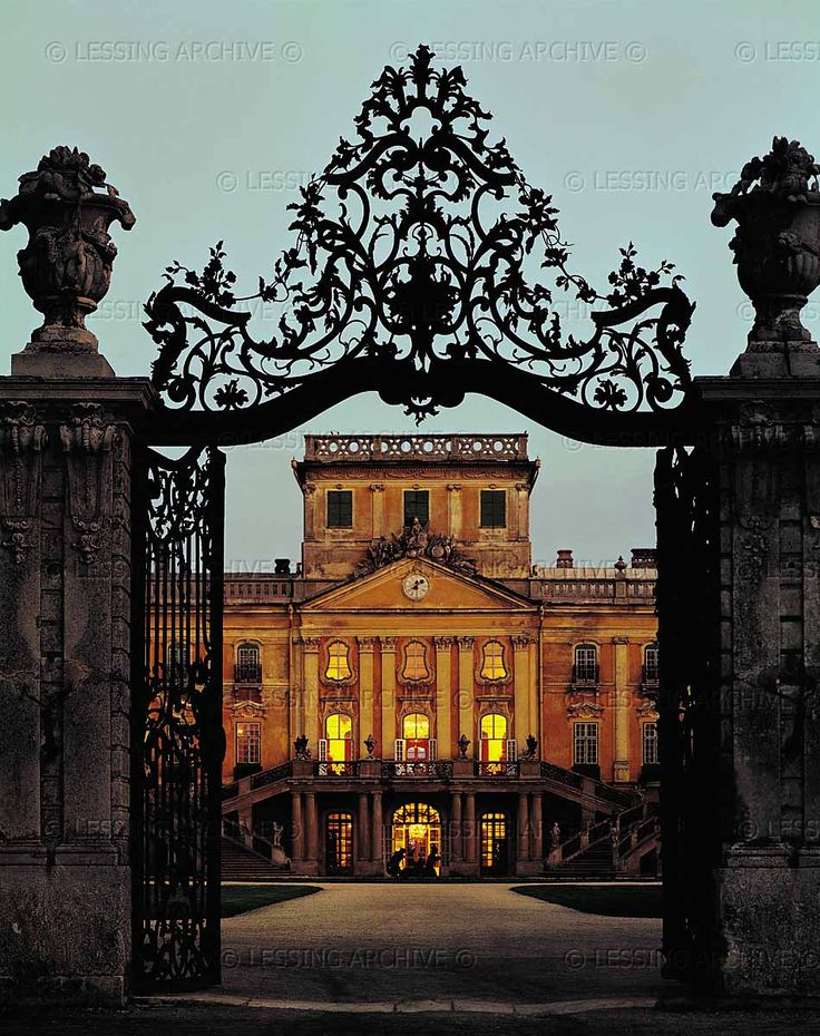 BAROQUE ARCHITECTURE 18TH   Entrance gate and palace of the princes Esterhazy in Eszterhaza, now Fertoed, Hungary. Joseph Haydn and the prince's orchestra used to spend the summer in Eszterhaza and return to Eisenstadt in autumn.   Eszterhaza Palace, Fertoed, Hungary