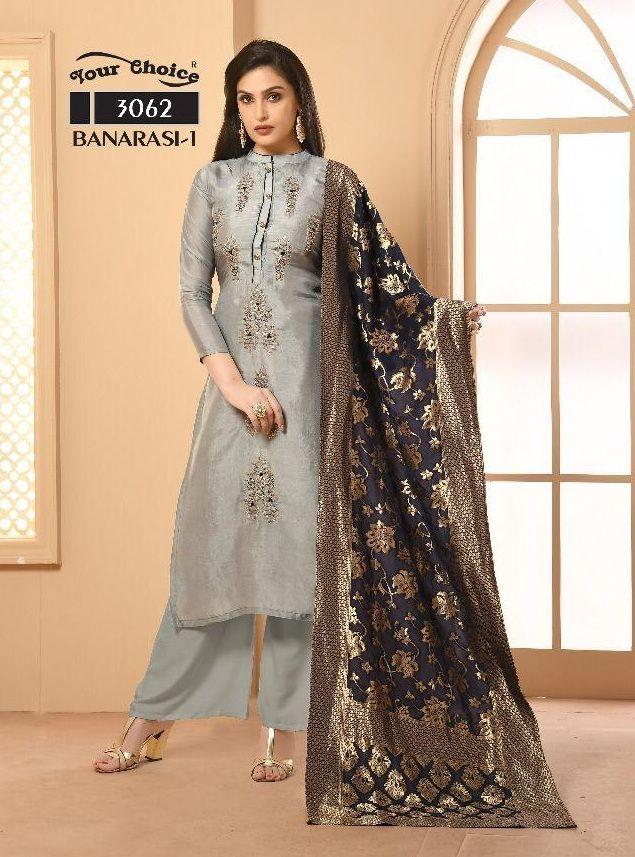 fefc30e890 Your Choice Banarsi 1 Satin Georgette with Banarsi Dupatta Salwar Suit 3063