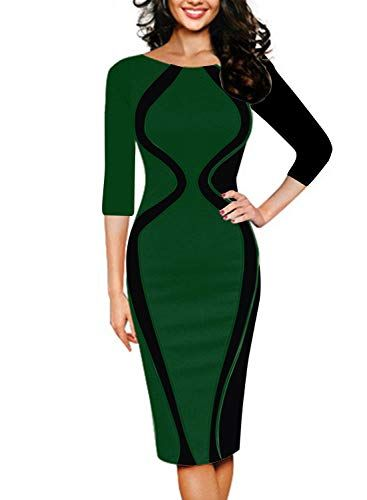 a2fc595a46c REMASIKO Womens Colorblock Optical Illusion Short Sleeve Cocktail Work  Pencil Dress REMASIKO Womens Colorblock Optical Illusion