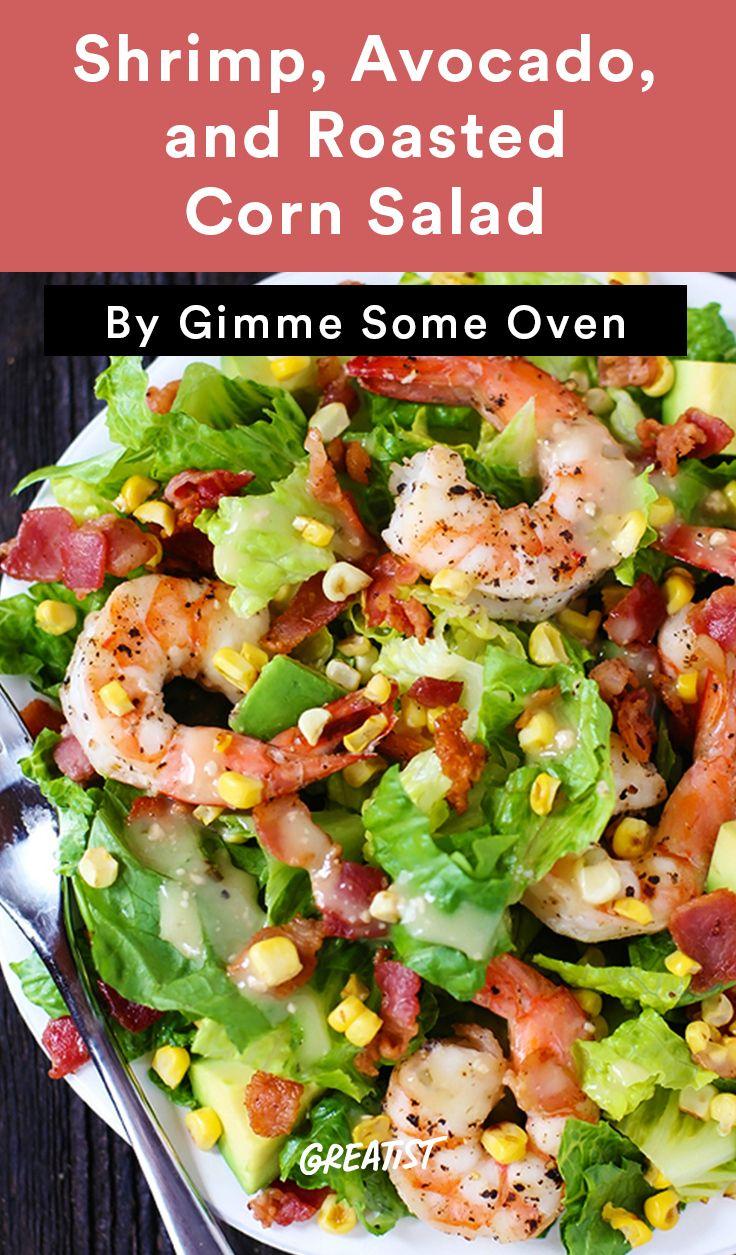 2. Shrimp, Avocado, and Roasted Corn Salad #healthy #salads…