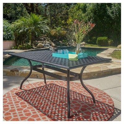Cayman Rectangle Cast Aluminum Table - Black Sand - Christopher Knight Home