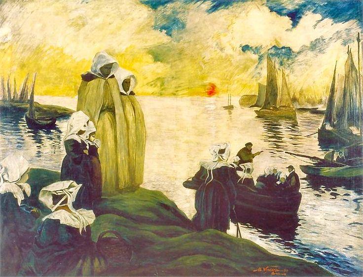 Michał Wywiórski (Gorstkin) - Pejzaż morski z Bretanii, 1911 rok, olej na płótnie, Centralne Muzeum Morskie w Gdańsku.
