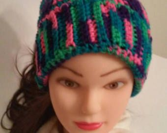 Crochet hat, knit hat, womans hat, multi color hat, winter hat, tassel hat, pink hat, green hat, purple hat, blue hat