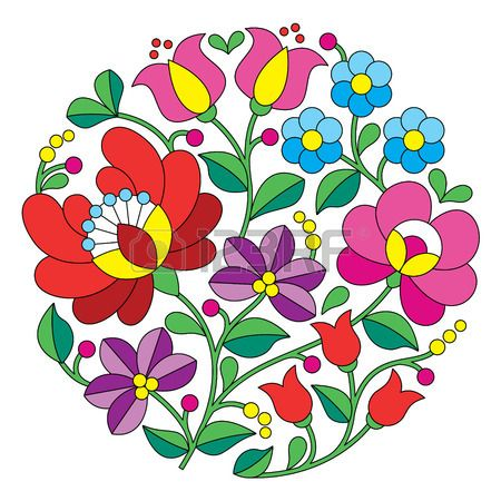Kalocsai embroidery - Hungarian round floral folk pattern Illustration