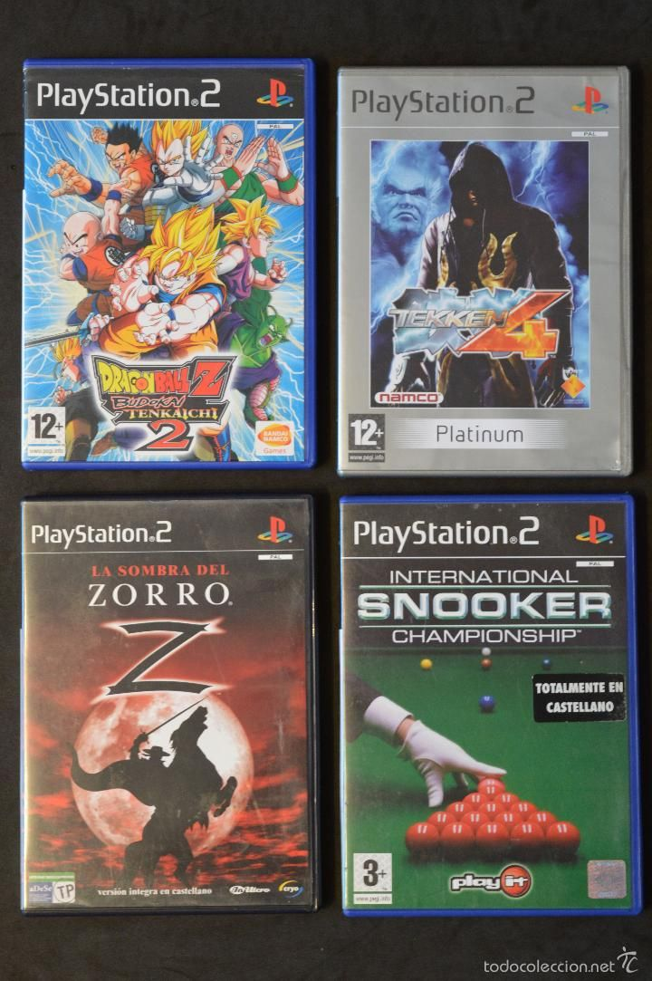 LOTE 4 JUEGOS PS2 PLAYSTATION DRAGON BALL Z TEKEN 4 EL ZORRO Y SNOOKER  12+