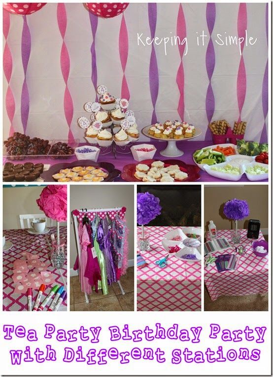 Little Girl Birthday Party Ideas- Tea Party with 4 different stations to get the girls ready for the tea party.  Ideas, tea party food, & more (including #Silhouette projects!)
