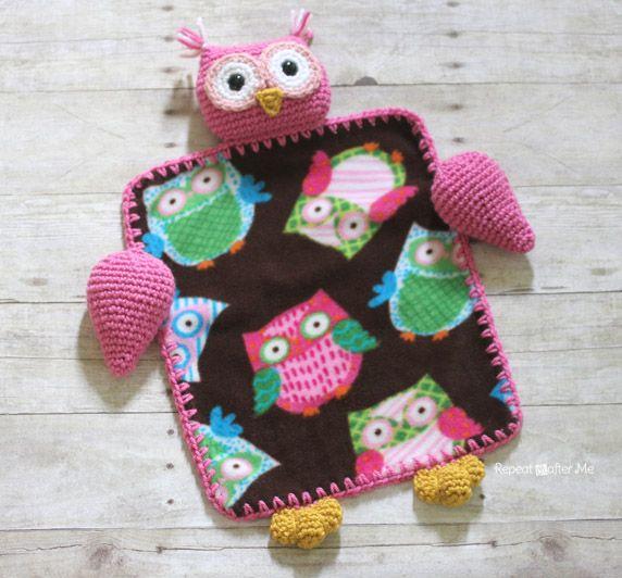 Free Crochet Pattern Owl Blanket : Repeat Crafter Me: Crochet Owl Lovey Blanket - free ...