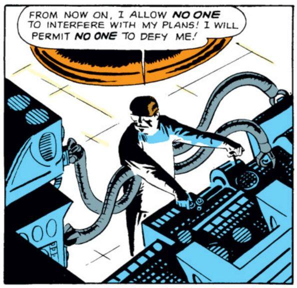 "Doctor Octopus, ""...no one to defy me!"", Amazing Spider-Man #3, Art: Steve Ditko"