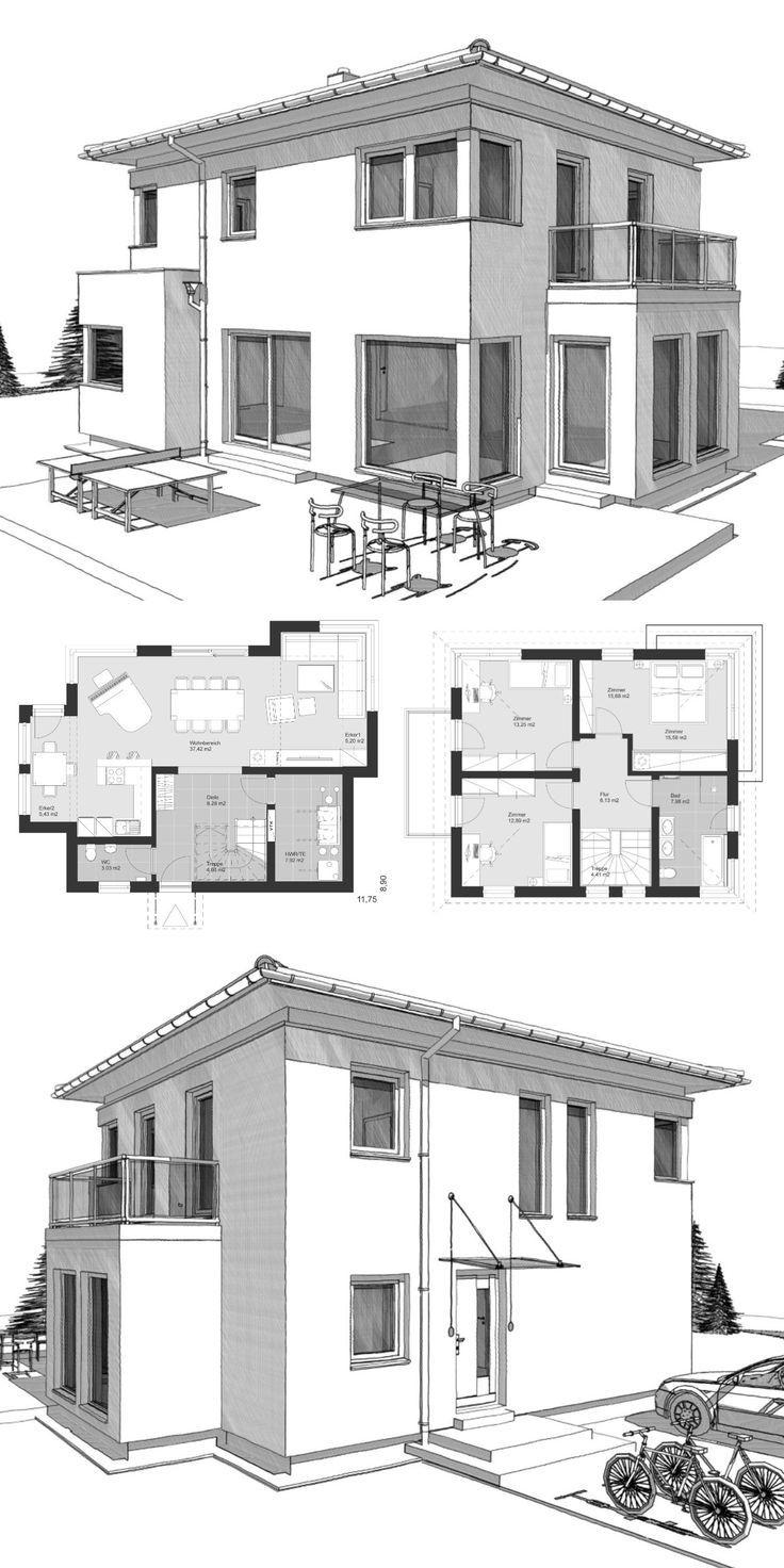 Moderne Landhaus Stadtvilla Grundriss mit Walmdach & Erker Anbau – Einfamilienhaus bauen Ideen Architektur Zeichnung ELK Haus 123 von ELK Fertighaus – HausbauDirekt.de