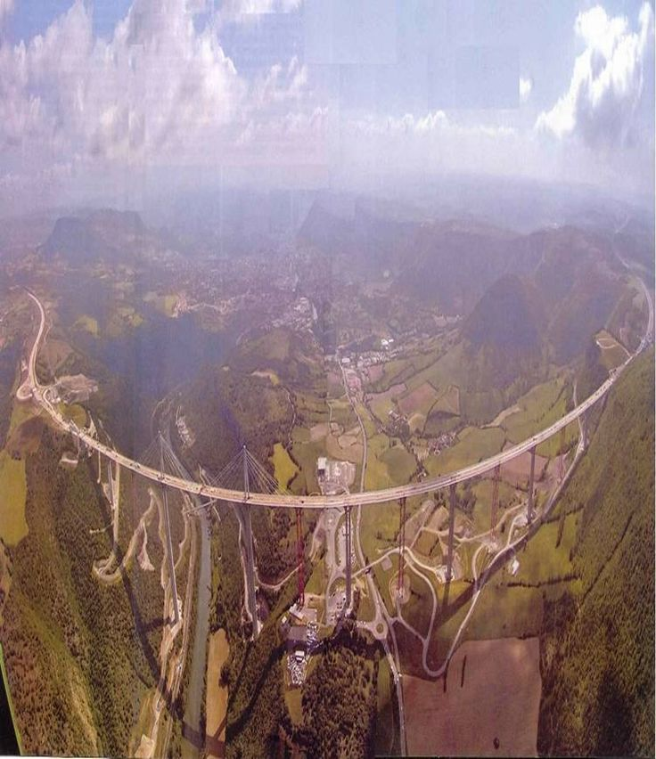 THE MILLAU VIADUCT is part of the new E11 expressway connecting Paris and Barcelona and features the highest bridge piers ever constructed. The tallest is 240 meters high and the overall height will be an impressive 336 meters, making this the highest bridge in the world.