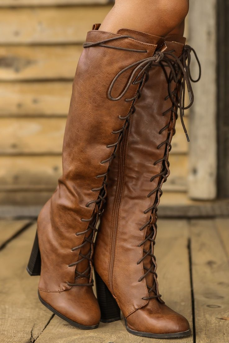 Lace To The Top Boots-Cognac - New Today | The Red Dress Boutique