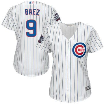 Women's Chicago Cubs Javier Baez Majestic White 2016 World Series Bound Home Cool Base Player Jersey