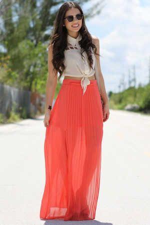 look-maxi-falda-color-coral