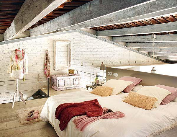 Loft bedroom. Great for my sleepwalking habit.Attic Bedrooms, Dreams, Loft Bedrooms, Interiors Design, Attic Room, Loft Spaces, Industrial Loft, Loft Room, Vintage Decor