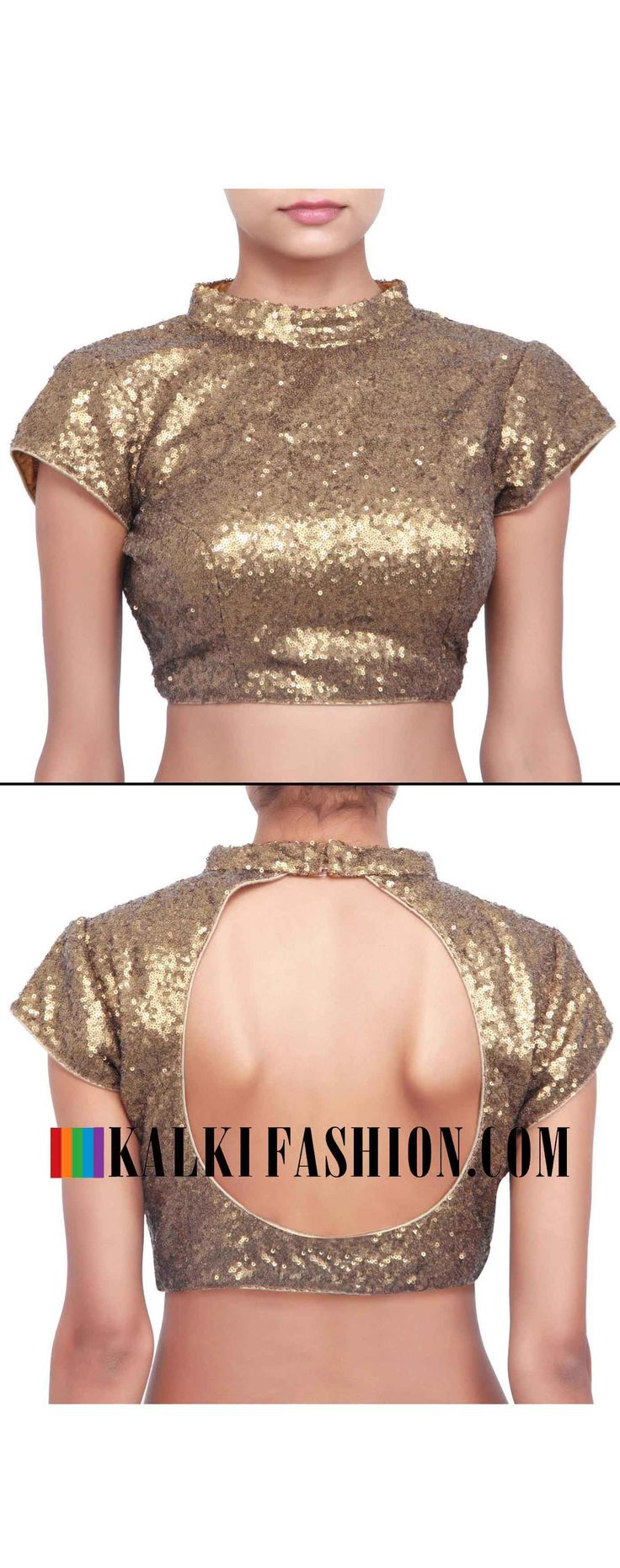 Buy online at: http://www.kalkifashion.com/gold-sequence-blouse-featuring-in-chinese-collar-only-on-kalki.html Free shipping worldwide.
