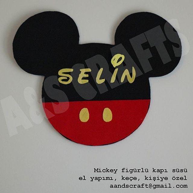 #AandSCRAFTS Mickey figürlü kapı süsü keçe el yapımı kişiye özel
