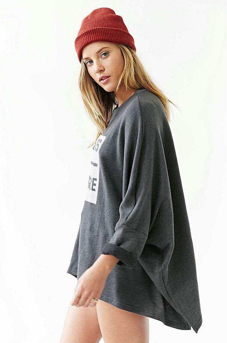 Grey Long Batwing Sleeve Loose Casual Oversized Streetwear Pullover Hoodies Round Neck
