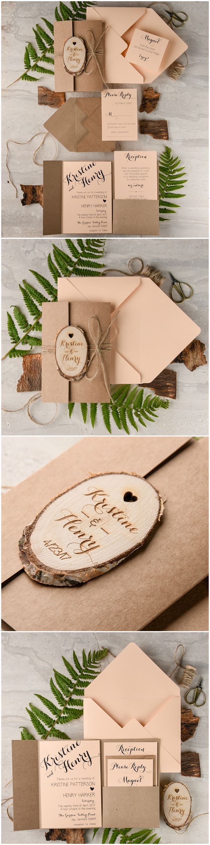 Peach & Eco Wedding Invitations with wooden magnet | Rustic, Eco, Eco friendly | Country wedding
