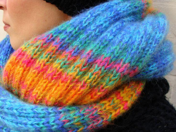 Nudakillers - infinity scarf, rainbow, handmade, knitted