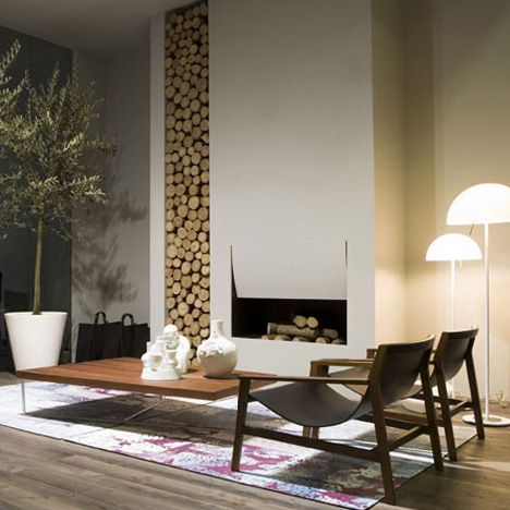 minimalistModern Fireplaces, Ideas, Fireplaces Design, Livingroom, Wood Storage, Interiors Design, Living Room, Fireplaces Wall, Wall Design