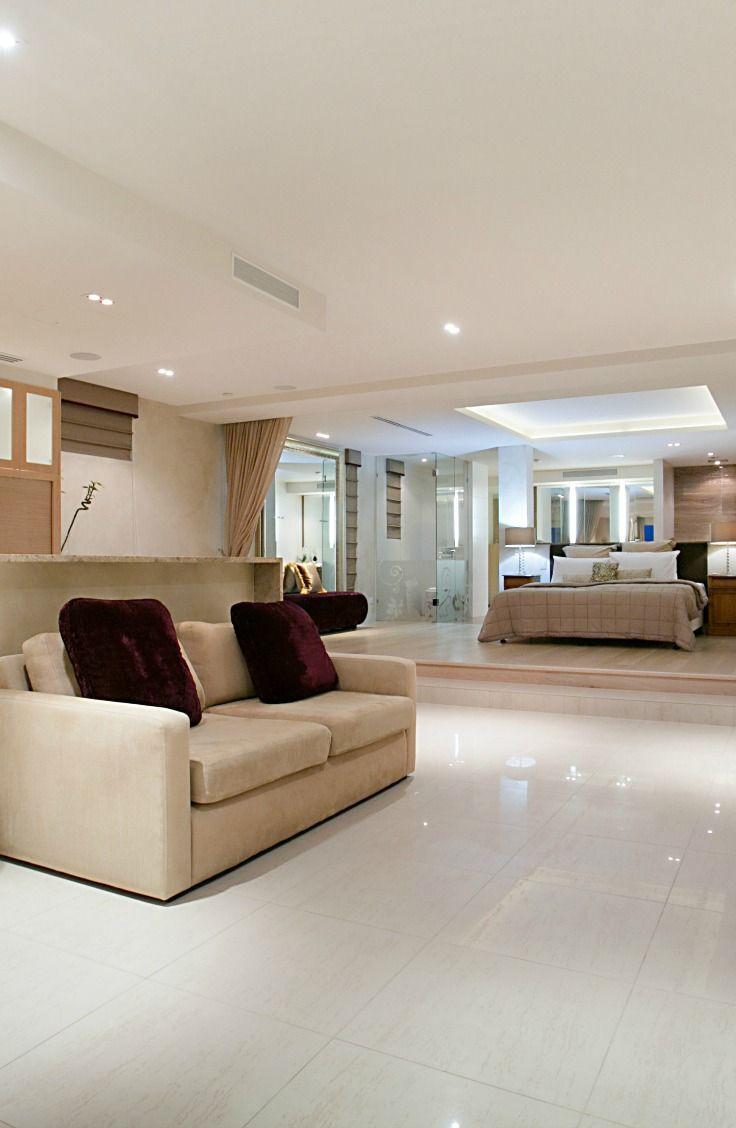 Bed on platform. Oceans 74, Elite Holiday Home on the Gold Coast. https://www.eliteholidayhomes.com.au/properties/oceans/ #luxuryhomes #luxury #beachfront #eliteholidayhomes #affordableluxury #goldcoast #holiday #travel #australia