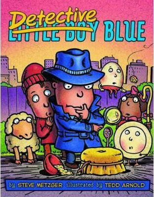 Little-Boy-Blue-is-all-grown-up-and-hes-a-detective-working-to-find-Miss-Muffet-As-Detective-Blue-tries-to-crack-the-case-with-the-help-of-his-nursery-rhyme-friends-the-fun-is-never-ending-as-Detective-Blue-interrogates-grown-up-nursery-rhyme-characters-in-order-to-solve-the-Missing-Muffet-Mystery-Illustrations