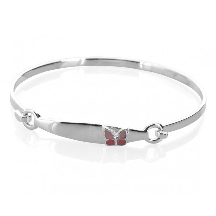 Ein wunderschönes 925 Sterling Silber Armband (Armreifen) für Kinder mit einem kleinen schönen Schmetterling dran. Am Armband können wir einen Namen rauf designen.